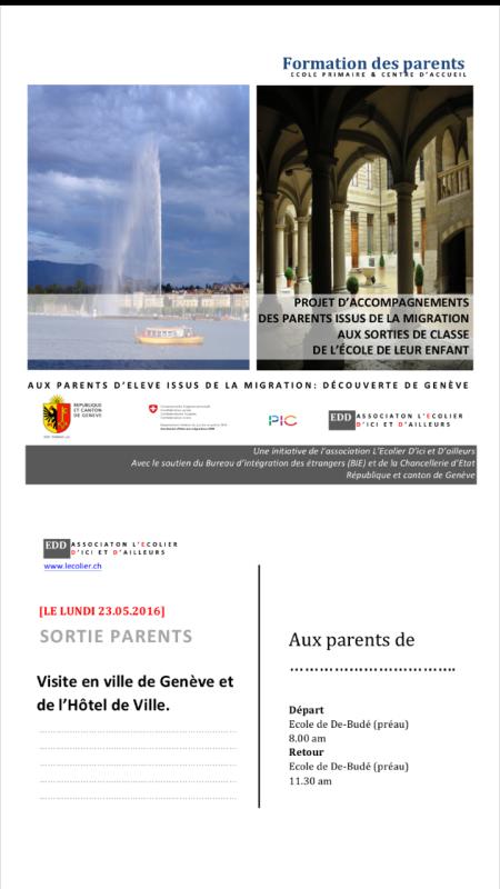 """16 parents ont participé à la sortie """"visite de Genève"""""""